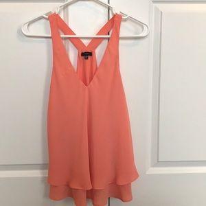 Coral v neck sheer blouse